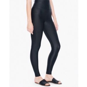 American Apparel Black Shiny High Waist Leggings